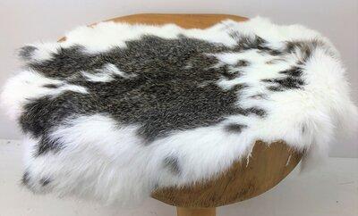 Konijnenvachtje Gemeleerd wit zwartgrijs