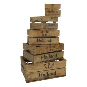 "Vijfdelig kistenset ""Holland Tulp"" Natural"